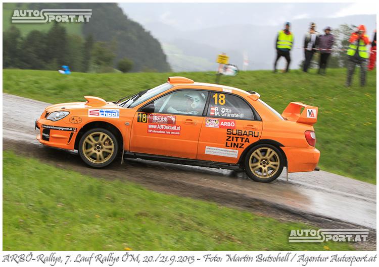 Robert Zitta/Markus Grünsteidl erreichen 2. Platz in der Klassenwertung bei der Arbö-Rallye 2013 - Foto: Martin Butschell /Agentur Autosport.at