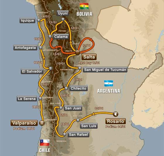Die Route der Dakar 2014 - Grafik: Wallenwein Rallye Sport
