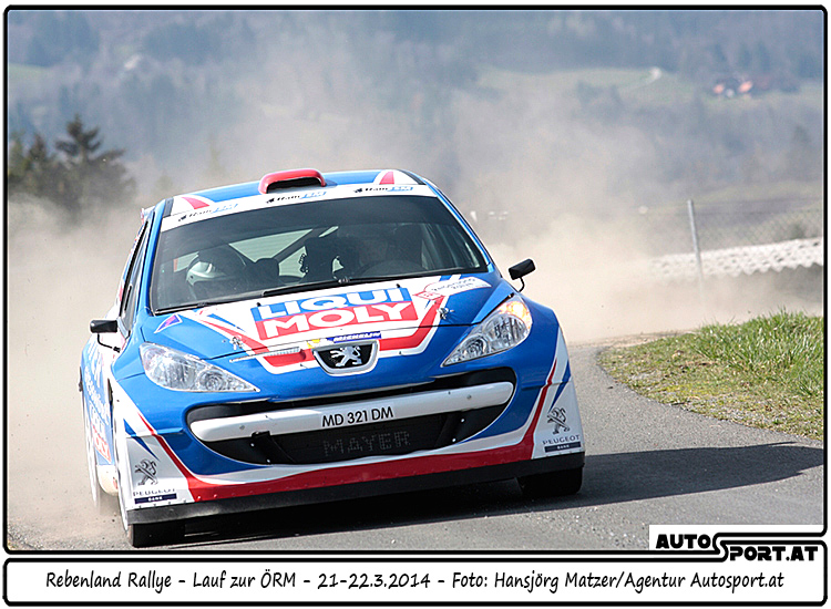 Walter Mayer erreicht einen guten 9. Platz in der Gesamtwertung der Rebenland-Rallye 2014 - Foto: Hansjörg Matzer/Agentur Autosport.at