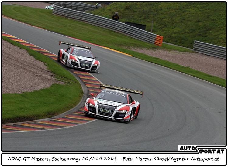 Audi-Doppelführung in der Startphase des 2. Laufs der GT-Masters auf dem Sachsenring - Foto: Marcus Künzel/ Agentur Autosport.at