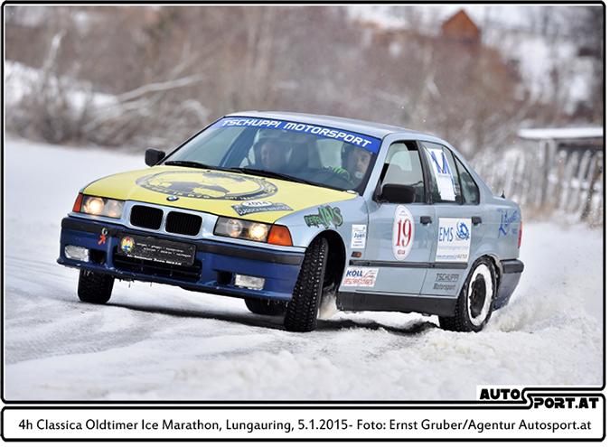 Die Sieger des 4-Stunden-Eismarathons am Montag: Team Tschuppi MS Kuprian auf BMW 320i - Foto: Ernst Gruber/Agentur Autosport.at